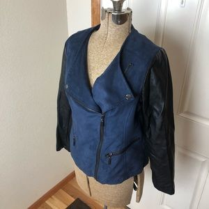 Alfani Jackets & Coats - Alfani Blue & Black Faux Leather Jacket